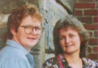 Ginny Hawker and Kay Justice at Seedtime, 1990