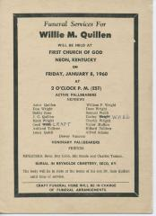Announcement for funeral of Willie M. Quillen, 1960