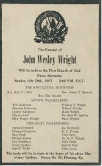 Announcement for funeral of John Wesley Wright. Neon, KY, 1957.