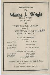 Martha J. Wright funeral announcement