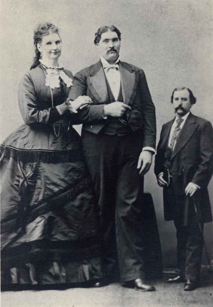 Martin Van Buren Bates with wife Anna and unidentified man