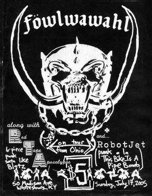 "Youth Bored flyer: headlining band ""Föwlwawahl"""