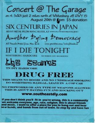 "Flyer, ""Concert @ The Garage"""