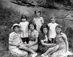 Portrait of family with multiple generations of women