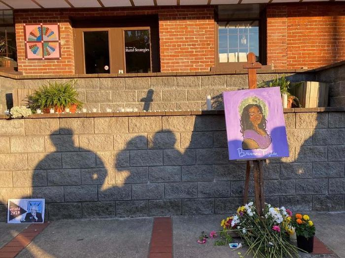 Breonna Taylor memorial in front of Whitesburg City Hall