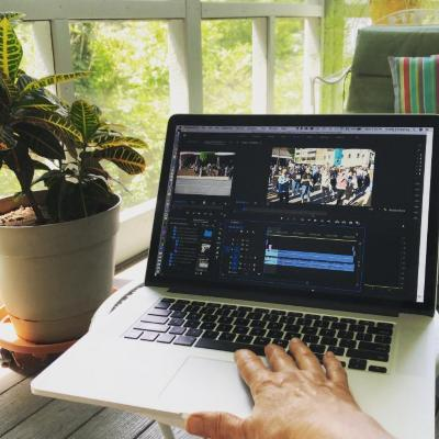 VIdeo editing on a porch