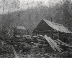 Sawmill and piles of lumber