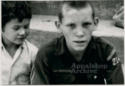 Production still of close up of two boys - The Struggle of Coon Branch Mountain