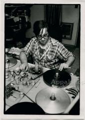 Appalshop filmmaker editing on a Steenbeck